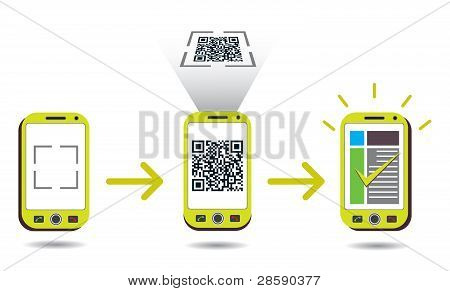 Qr Code Processing Showing Cellphone Scanning