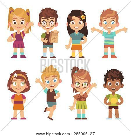 Cute Cartoon Kids Set. Children Girls Boys Standing Kid Portraits Happy Teens Group Funny Preschool
