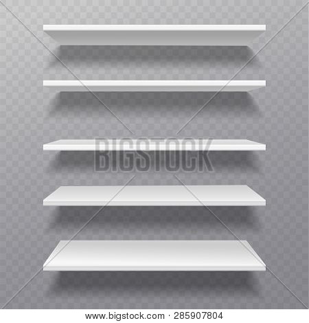 White Shelves. Retail Rack Bibliotheque Shelf Box Blank Shelves Empty Bookshelf Store Bookcase On Wa