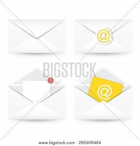 Set Of Email Icon. Envelope With Paper Sheet, Plain Mail, With A Stamp. Vector Illustration.