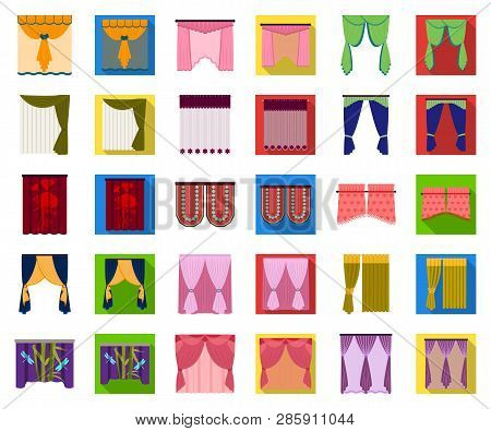 Different Kinds Of Curtains Cartoon, Flat Icons In Set Collection For Design. Curtains And Lambrequi