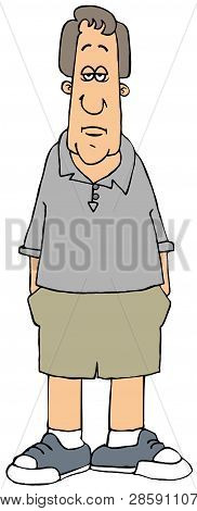 Illustration Of A Sad Caucasian Man Wearing Shorts With Both Hands In His Pockets.
