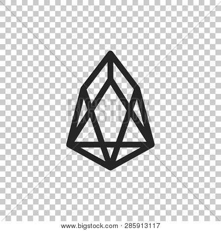 Cryptocurrency Coin Eos Icon Isolated On Transparent Background. Physical Bit Coin. Digital Currency
