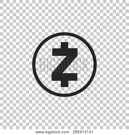 Cryptocurrency Coin Zcash Zec Icon Isolated On Transparent Background. Physical Bit Coin. Digital Cu