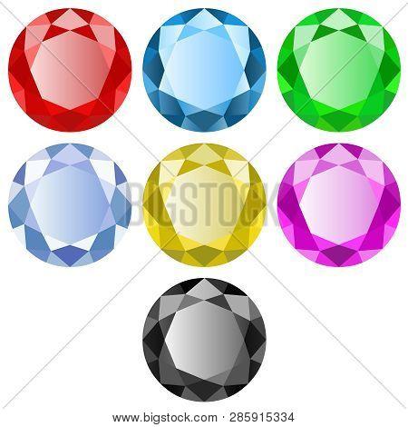 Diamant, Rubis, Saphir, Pierres Précieuses Sur Fond Blanc