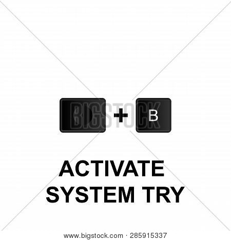 Keyboard Shortcuts, Activate System Try Icon. Can Be Used For Web, Logo, Mobile App, Ui, Ux On White