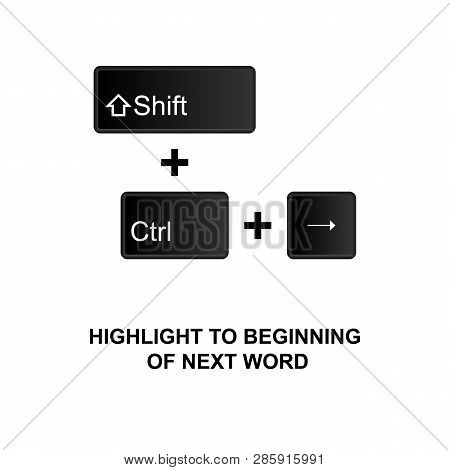 Keyboard Shortcuts, Highlight To Beginning Of Next Word Icon. Can Be Used For Web, Logo, Mobile App,