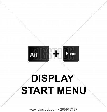 Keyboard Shortcuts, Display Start Menu Icon. Can Be Used For Web, Logo, Mobile App, Ui, Ux On White