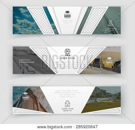 Business Banner Template With Realistic Photos, Logistics Horizontal Template. Abstract Cover Header
