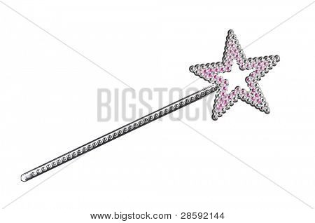 Silvery magic wand isolated on white background