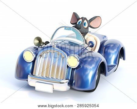 3d Rendering Of A Cute Smiling Cartoon Mouse Sitting In A Cabriolet Car That He Is Driving. White Ba