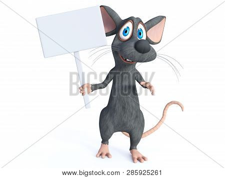 3d Rendering Of A Cute Smiling Cartoon Mouse Holding A Blank Sign. White Background.