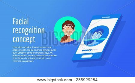 Id Verification Smartphone Scanner. Personal Identify, Face Recognition Technology Concept.