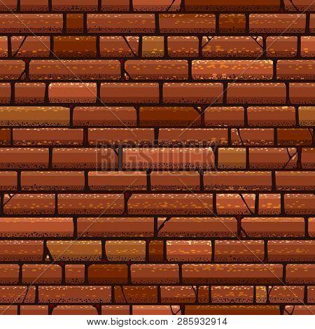 Brick Wall Texture. Grungy Red Old Bricks Vector Background, Vintage Grunge Brown Urban Retro Wall S