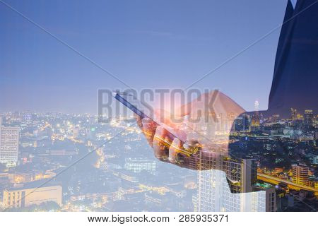 Business And Technology, Iot Concept. Ict (information Communication Technology). Double Exposure Of