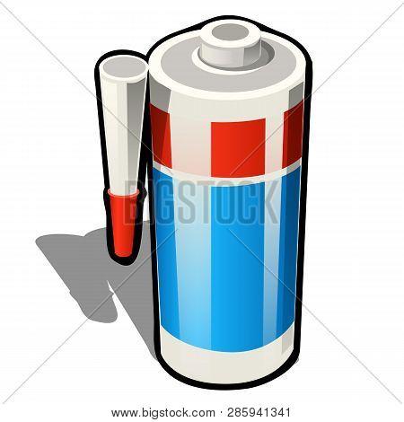 Plastic Tube Of Silicone Sealant Or Glue Isolated On White Background. Vector Cartoon Close-up Illus