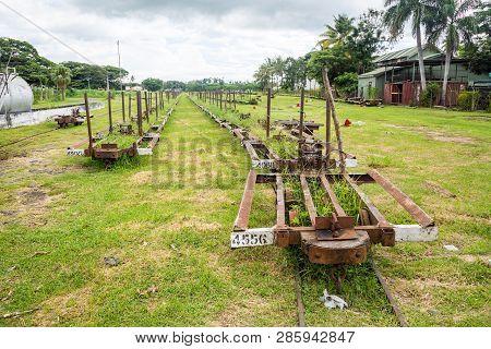 Lautoka, Fiji - Jan 4 2015: Abandoned Freight Cargo Narrow Gauge Railway Station For Transporting Su