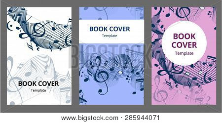 Music Key Nd Notes Vector Brochure Cards Set. Audio Tools Template Of Flyear, Magazines, Poster, Boo