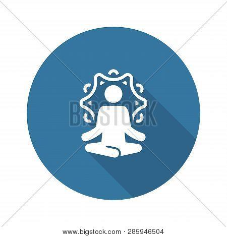 Yoga Retreat And Meditation Icon. Flat Design Yoga Poses With Mandala Ornament In Back. Isolated Ill