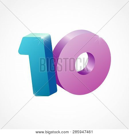 10 Th Years Old Congrats. Isolated Abstract Colored Graphic Design Template. Up To -10 % Logotype. R