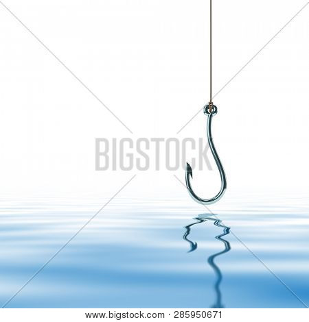 a fishing hook over water background 3d illustration