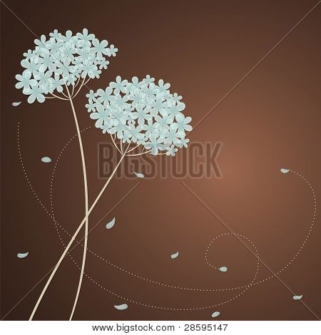 Greeting card with blue hydrangea