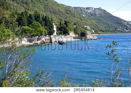 Panoramic view photo of Croatian seaside summertime at Miramare castle poster