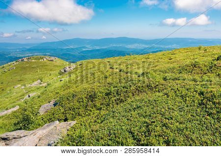 Wonderful Sunny Scenery In Mountains. Grassy Alpine Meadow With Some Rock Formations. Distant Ridge