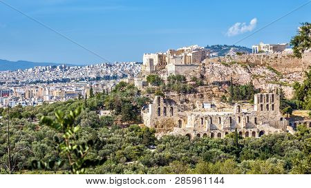 Panorama Of Athens With Acropolis Hill, Greece. Famous Old Acropolis Is A Top Landmark Of Athens. An