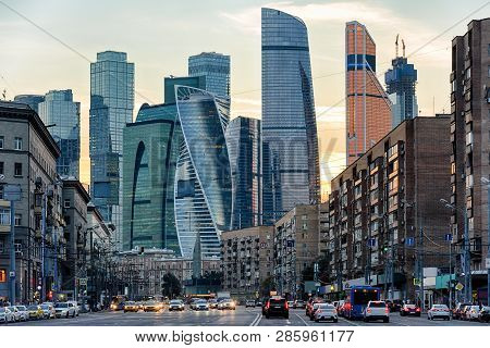 Panorama Of Moscow With Skyscrapers Of Moscow-city At Sunset, Russia. Contemporary Tall Buildings At