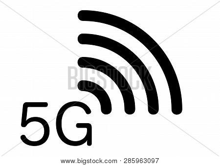 5g New Wireless Internet Wifi Connection - 5 G New Generation Mobile Network Icon, Vector Isolated O