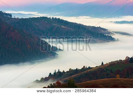 Valley Full Of Fog At Sunrise. Beautiful Autumn Scenery In Mountains. View From The Top Of A Hill