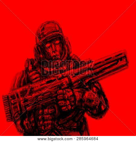 Soldier Of The Future. Front View. Red Background. Science Fiction Genre.