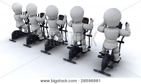 3D render of a men on crosstrainers
