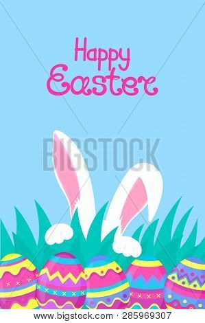 Happy Easter. Paschal Eggs. White Rabbit With Paws And Pink Ears Hiding In The Grass.