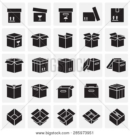 Box Icons Set On Squres Background For Graphic And Web Design, Modern Simple Vector Sign. Internet C
