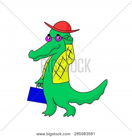 Crocodile Dandy In Trendy Glass And Fashion Suit With Briefcase Critic Looks At You. Vector Hand Dra