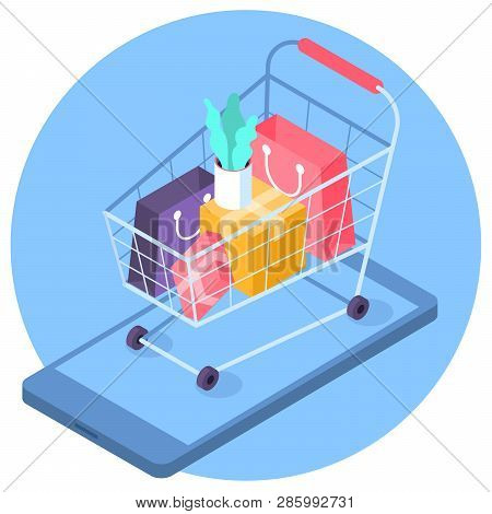 Flat Design Vector Online Mobile Shopping Isometric Concept. Trendy Color Icon Of Supermarket  Cart