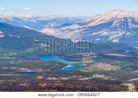 Aerial View Of Jasper Lakes From The Top Of Whistler Mountain - Jasper National Park, Alberta, Canad