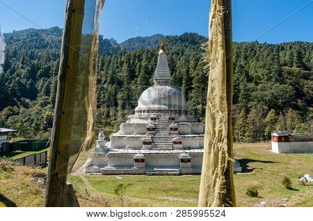 Chendebji Chorten - Bhutan. The Chorten Is Situated At The Point Where The Three Ridges And The Thre