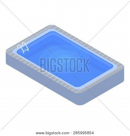 Home Swimming Pool Icon. Isometric Of Home Swimming Pool Vector Icon For Web Design Isolated On Whit