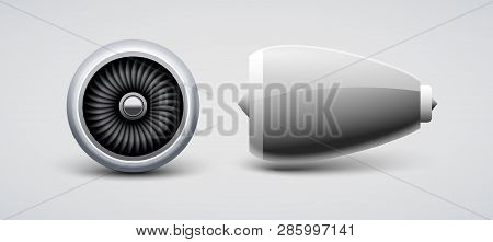 Jet Turbine, Engine Plane Vector Isolated. Aircraft Turbo Blade Motor. Airplane Front Side View Engi