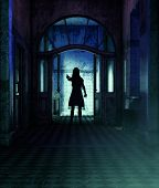 Girl being possessed by a demonic,3d rendering** night scene may have some noise poster