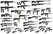 Graphic black detailed silhouette pistols, guns, rifles, submachines, revolvers and shotguns. Isolated on white background. Vector weapon and firearm icons set. Vol. 2 poster