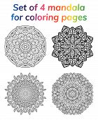 Coloring book pages set. Collection mandala. Indian antistress medallion. Abstract islamic flower, arabic henna design, yoga symbol. White background, black outline. Vector illustration poster