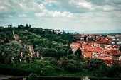Beautiful panoramic view Florence Firenze, Italian renaissance churches. Summer scenery. Sunny day, blue sky with cumulus clouds. Florence, Tuscany, Italy poster