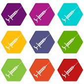 Injector icons 9 set coloful isolated on white for web poster