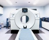CT Scanner ( Computed Tomography ) isolated on motion blurred CT Scan room background. Clipping path.front view.medical technology concept. poster