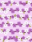 Cherry blossom in white and purple. Seamless vector background. poster