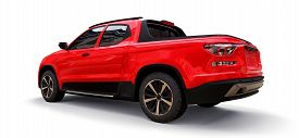 3d Illustration Of Red Concept Cargo Pickup Truck On White Isolated Background. 3d Rendering.